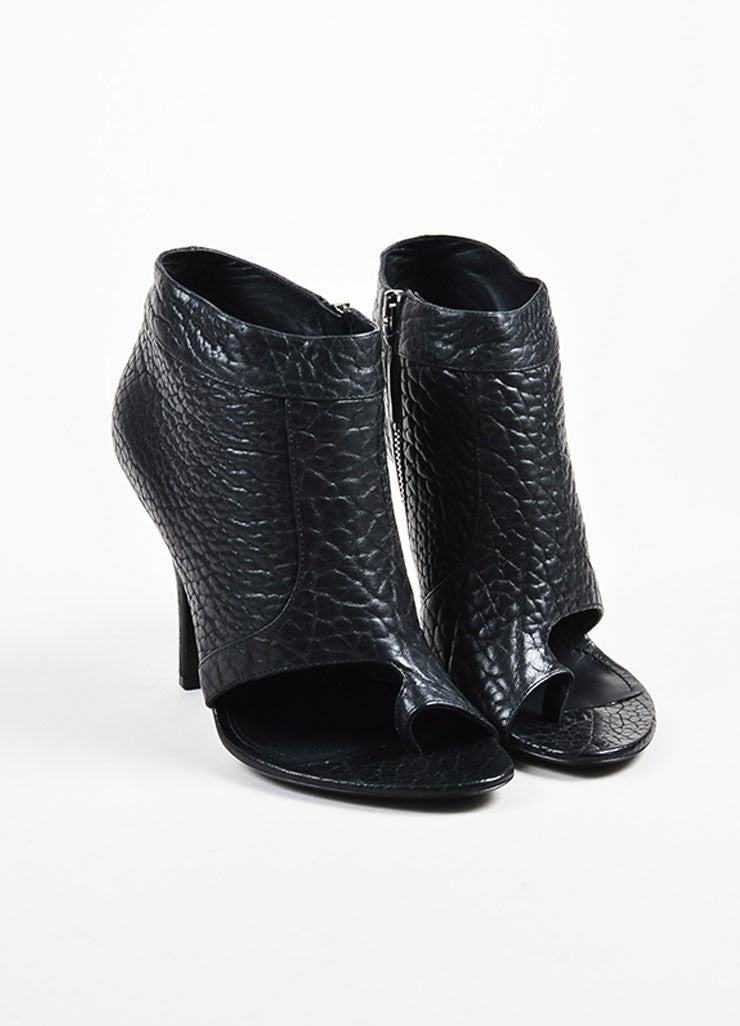 Givenchy Black Pebbled Leather Open Toe Thong Booties frontview