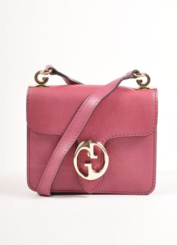 Gucci Pink 'GG' Logo Clasp Leather Crossbody Flap Bag Front