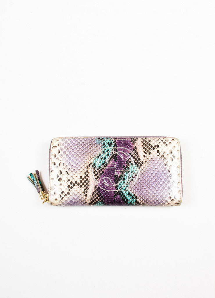 "Gucci Cream, Purple, and Green Python Snakeskin Zip Around 'GG' ""Soho"" Wallet Frontview"