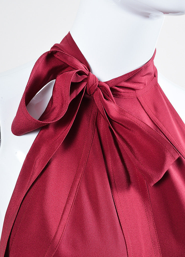 Burgundy Gucci Silk Neck Tie Bow Flare Godet Dress Detail