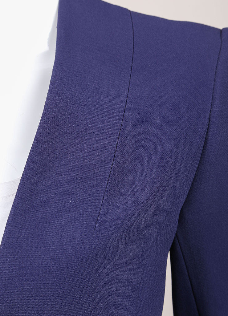 "Haider Ackermann New With Tags Navy Blue Cropped Long Sleeve ""Coronus"" Suiting Jacket Detail"
