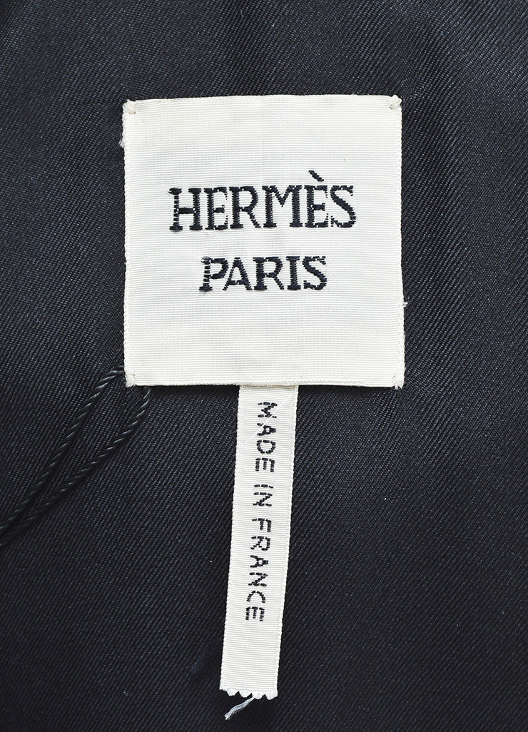 Hermes Black Pony Hair Patch Belted Peak Lapel Single Button Coat Brand