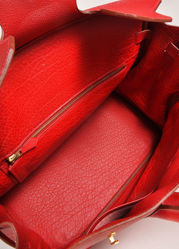 "Hermes Red and Gold Toned ""Rouge Garance"" Buffalo Skipper Leather 35cm Birkin Bag Interior"