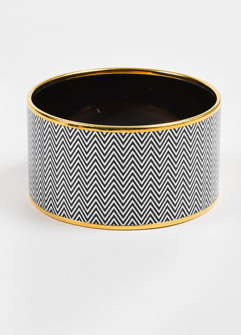 "Gold Toned, White, and Black Hermes Enamel ""Chevrons"" Extra Wide Bangle Bracelet Frontview 2"
