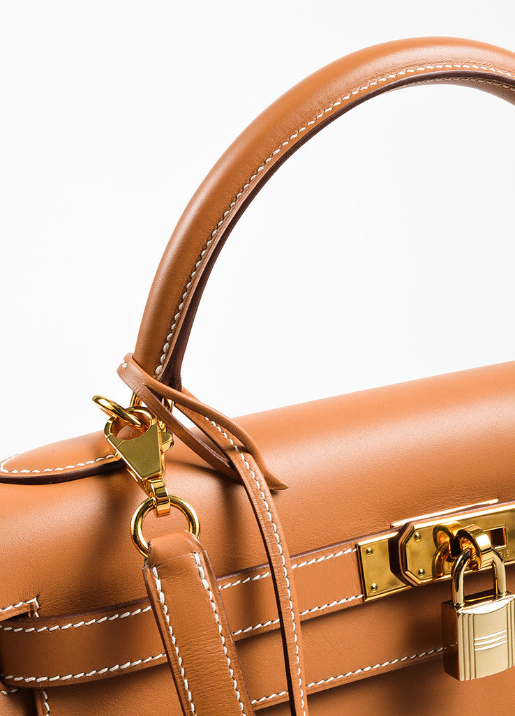 "Hermes Natural Tan Chamonix Leather Gold Toned Hardware ""Kelly 32cm"" Bag Detail 3"
