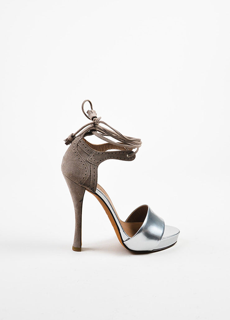 Hermes Silver Toned Leather and Taupe Suede Ankle Wrap High Heel Sandals Sideview