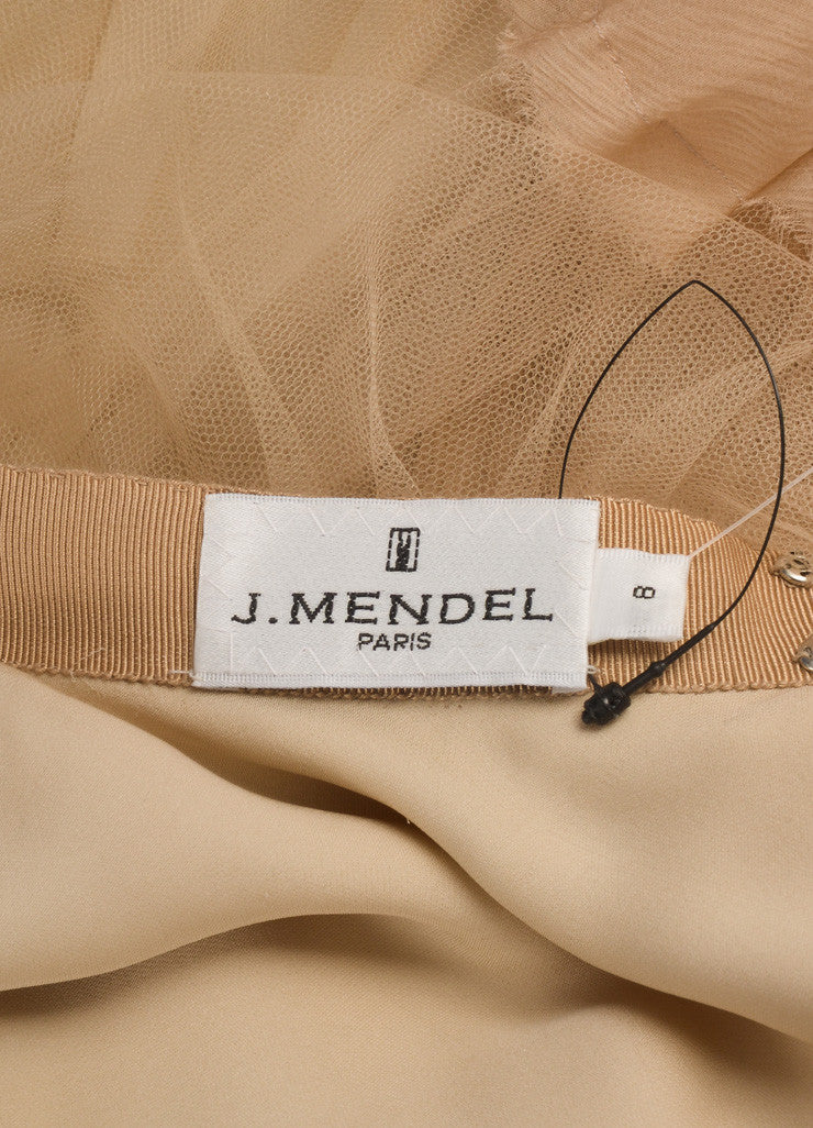 J. Mendel Nude Tulle Full Knee Length Skirt Brand
