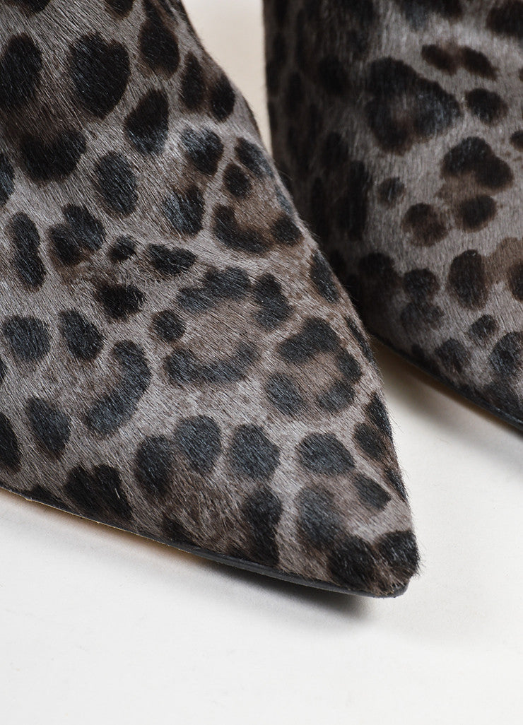 "Black and Grey Jimmy Choo Pony Hair Leopard Print ""Amore"" Ankle Booties Detail"