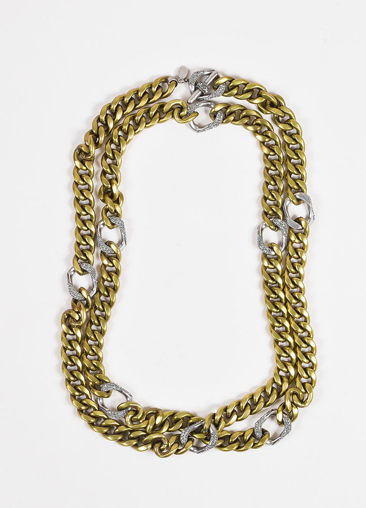 Lanvin Brass and Silver Toned Pave Crystal Layered Chunky Curb Chain Necklace Frontview