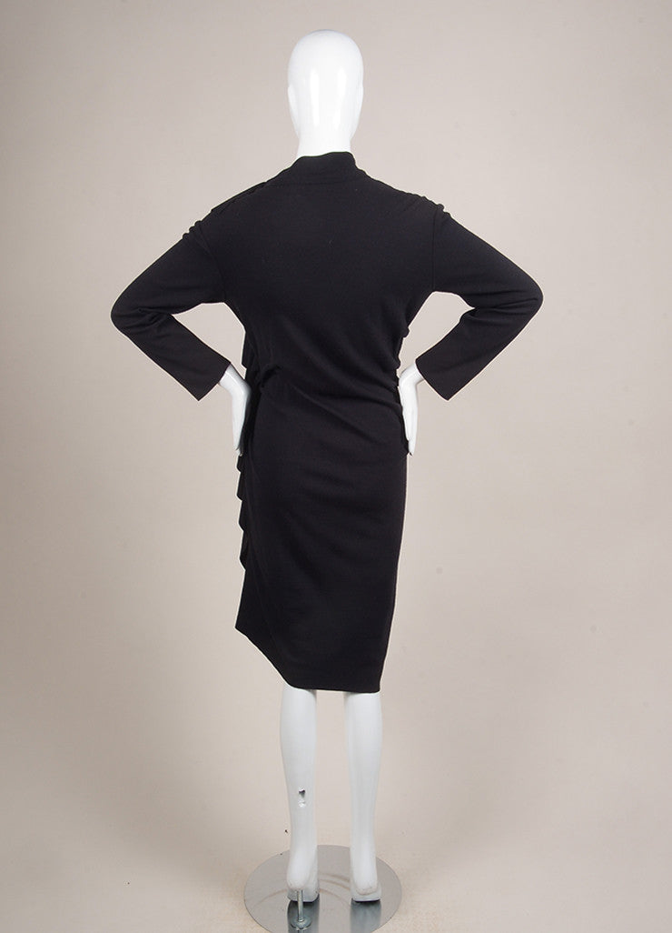 Lanvin Navy Blue Wool and Cashmere Ruffle Zip Long Sleeve Sweater Dress Backview