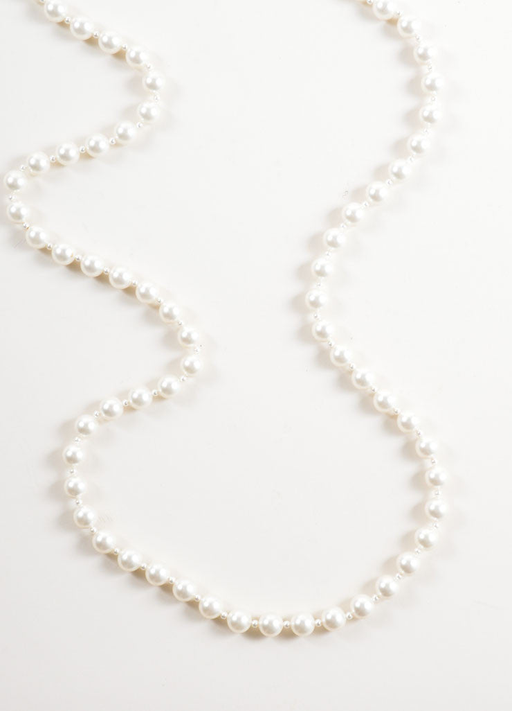 Lanvin White and Silver Toned Faux Pearl and Rhinestone Necklace Detail