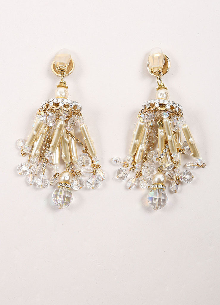 Lawrence Vrba Gold Toned and Cream Faux Pearl Rhinestone Chandelier Earrings Backview
