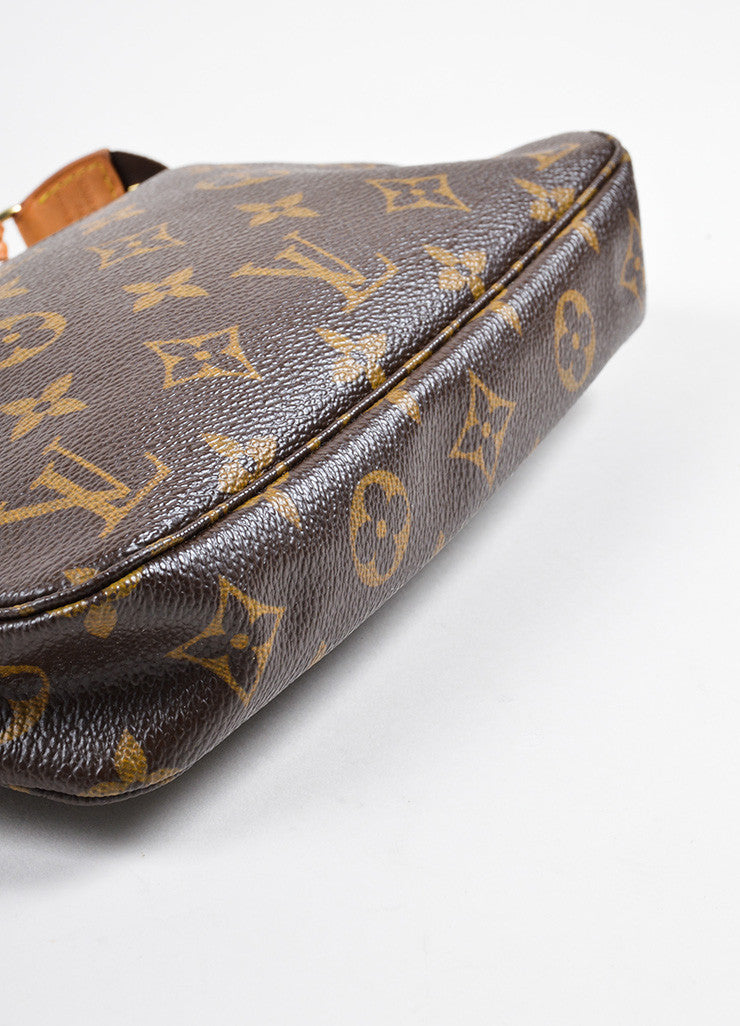 Louis Vuitton Brown Coated Canvas and Leather Monogram Pochette Bag Bottom View