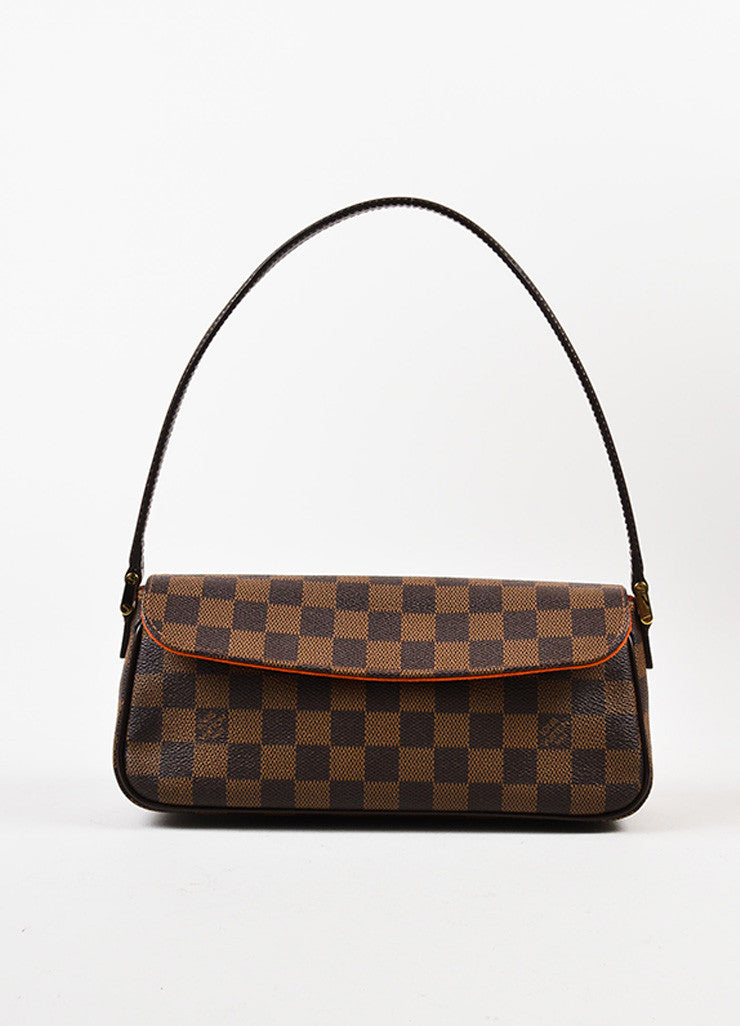 "Louis Vuitton Brown Damier Canvas Leather ""Recoleta"" Shoulder Baguette Bag Frontview"