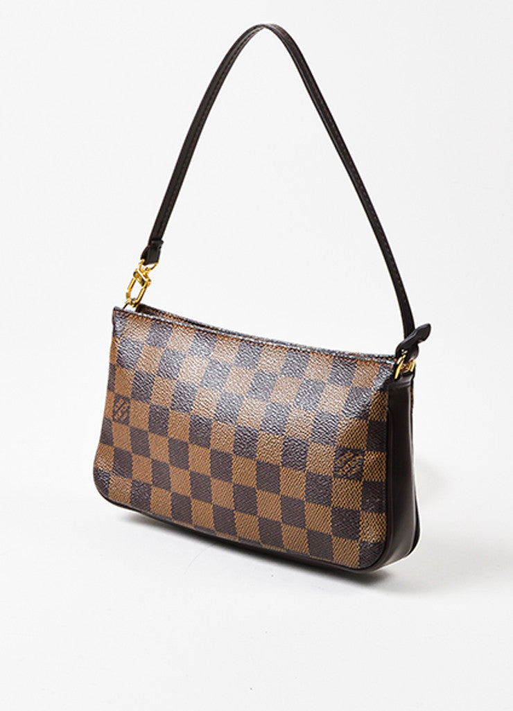 "Louis Vuitton Brown ""Damier"" Canvas Leather ""Trousse Accessoires Pochette"" Bag Sideview"
