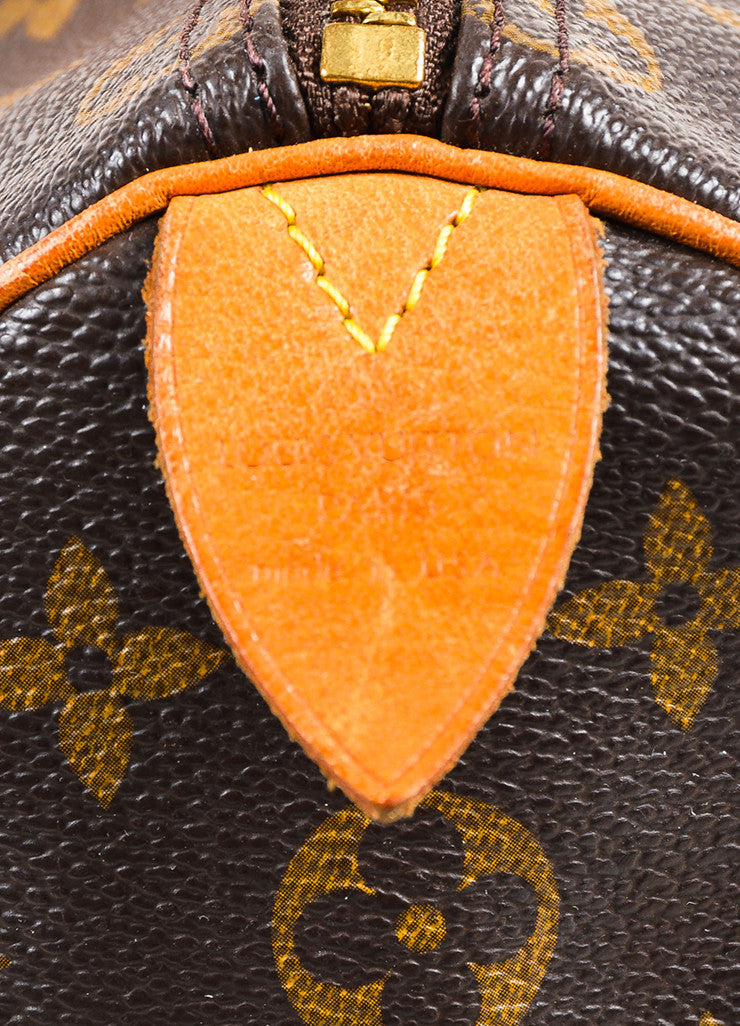 "Louis Vuitton Brown and Tan Coated Canvas Leather Monogram ""Speedy 35"" Bag Brand"