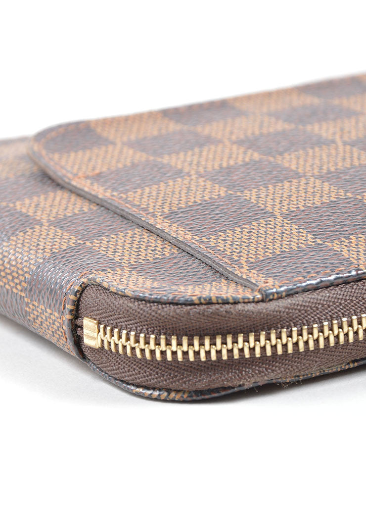 "Louis Vuitton Brown and Tan ""Ebene"" Coated Canvas Damier ""Olav"" Organizer Wallet Detail"