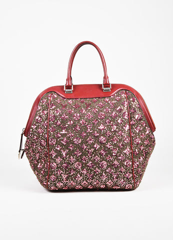 Louis Vuitton Burgundy Leather Sequin Monogram Sunshine Express North South Bag Frontview