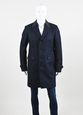 "Men's Belstaff Navy Black Wool & Leather Trim ""Sheldon"" Peacoat Front 2"