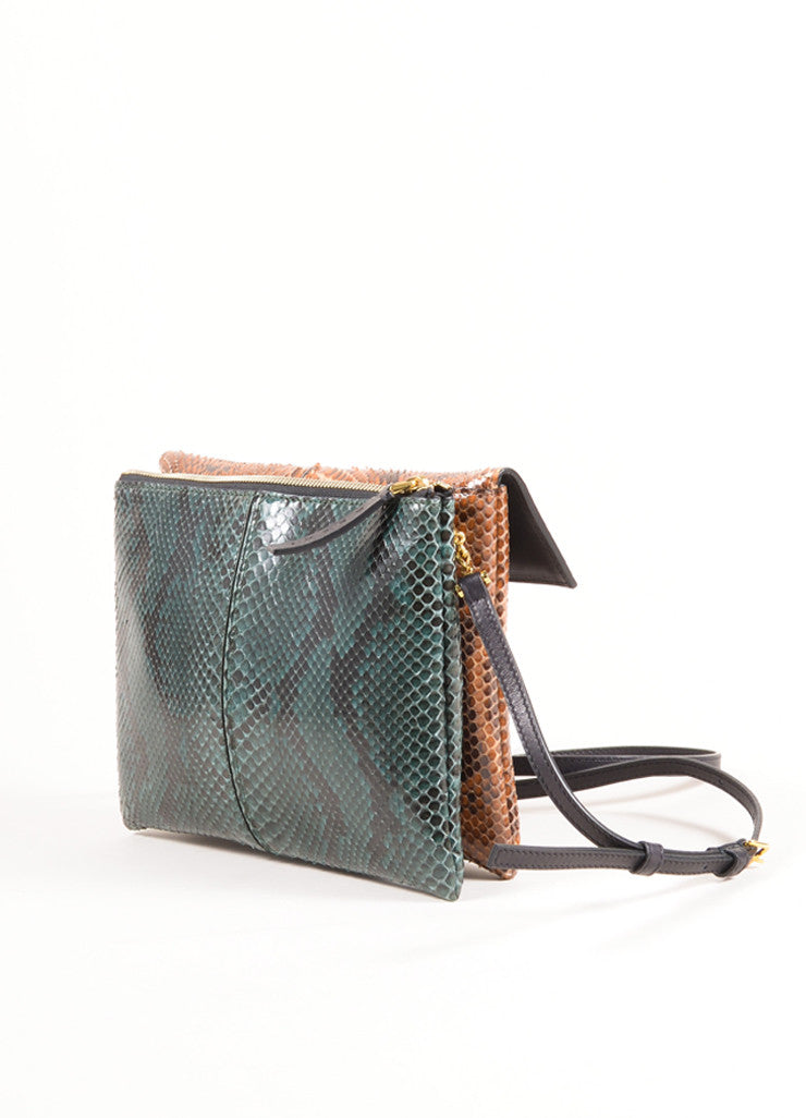 "Marni Brown and Green Python Leather Two Tone ""Bandoleer"" Shoulder Bag Sideview"