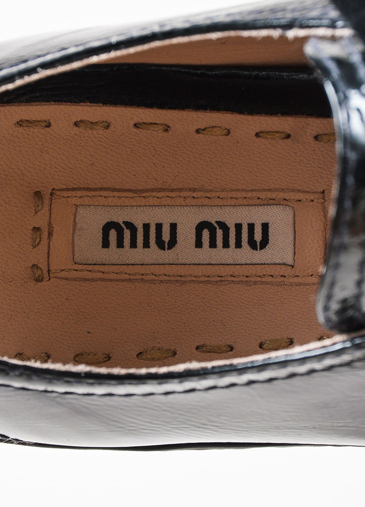 Miu Miu Black Patent Leather Swarovski Crystal Cap Toe Sneakers Brand