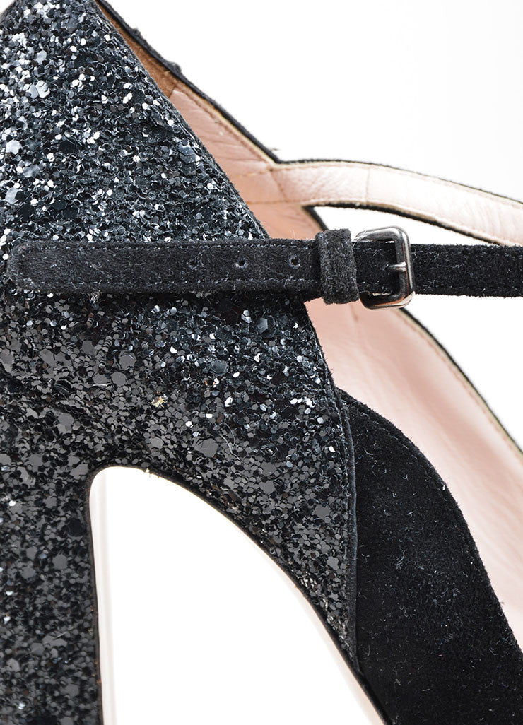 Black Miu Miu Suede and Glitter Mary Jane Peep Toe Platform Pumps Detail