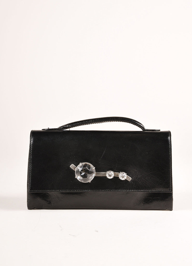 "Miu Miu New In Box Black Crackle Leather Rhinestone Embellished ""Shine Crystal"" Wallet Frontview"