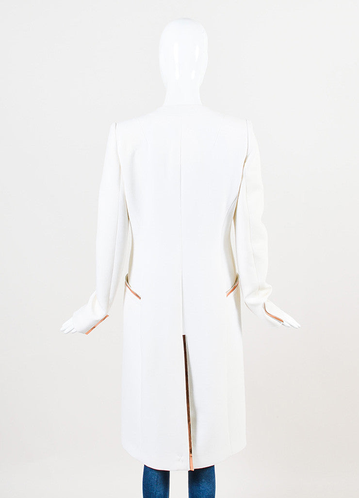 "Mugler White and ""Copper"" Virgin Wool Crepe Structured Midi Coat Backview"
