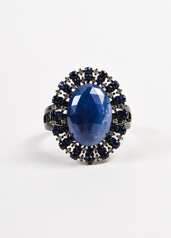 18k Blackened Gold Sapphire Pave Diamond Oval Cocktail Ring Frontview