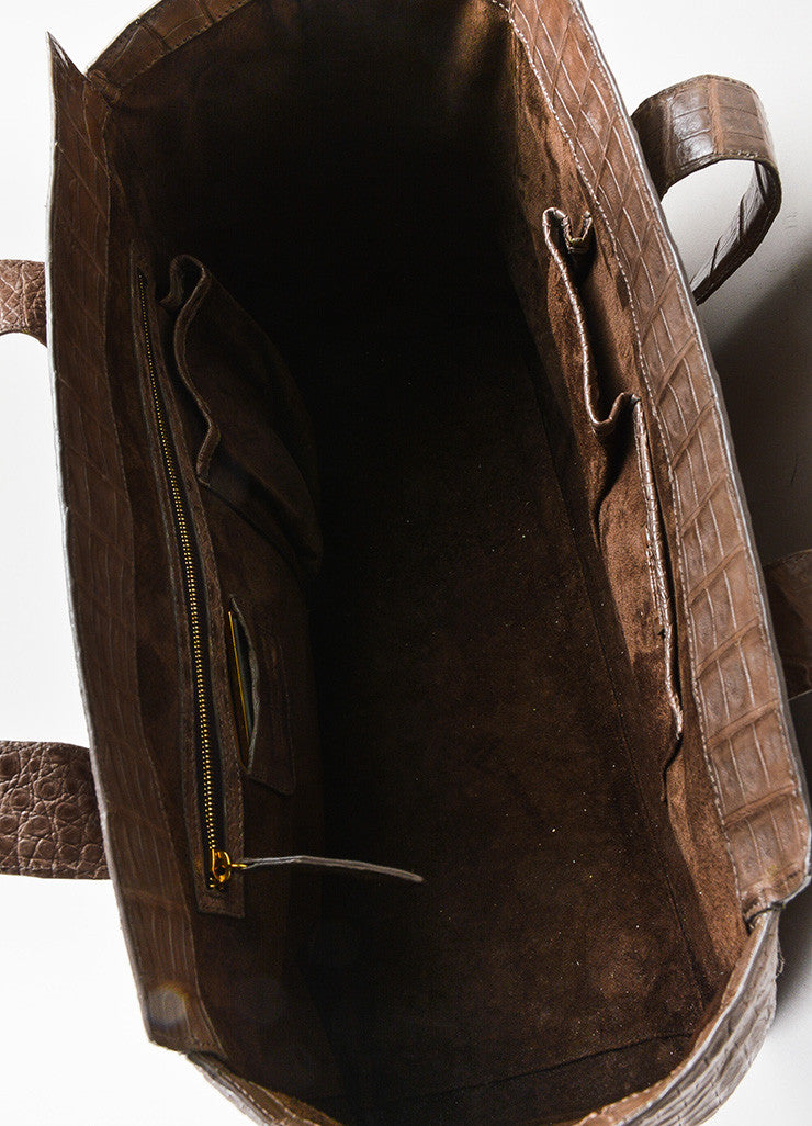 """Nut"" Taupe Nancy Gonzalez Crocodile Leather East West Tote Bag Detail 4"