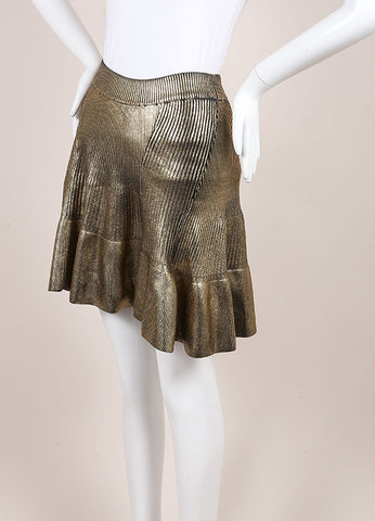Ohne Titel New With Tags Gold Knit Foil Ribbed Skirt Sideview