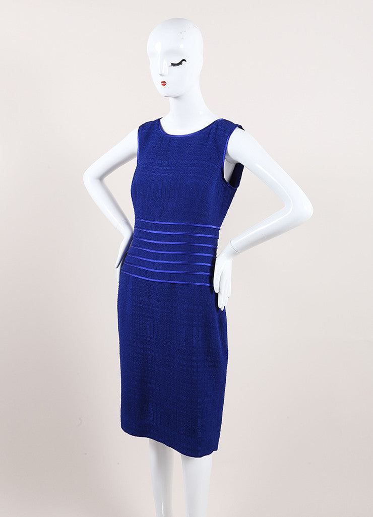Oscar de la Renta New With Tags Blue Woven Knit Satin Trim Sleeveless Dress Sideview