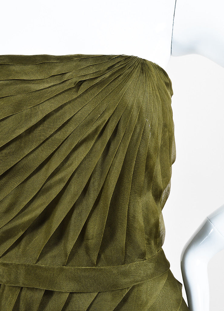 Oscar de la Renta Olive Green Silk Chiffon Tiered Pleated Strapless Dress Detail