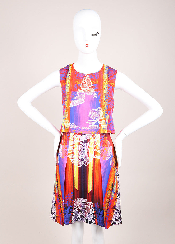 "Peter Pilotto New With Tags Red and Blue Silk Floral Stripe Sleeveless ""MT"" Dress Frontview"