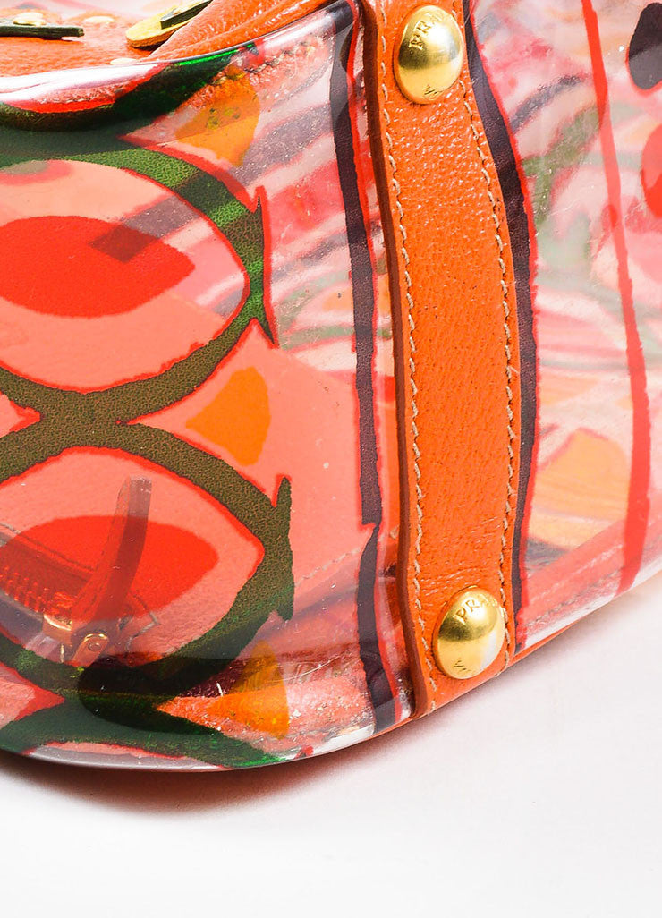 "Orange and Multicolor Prada Leather and PVC Floral Crossbody ""Plex Stampato"" Tote Bag Detail"