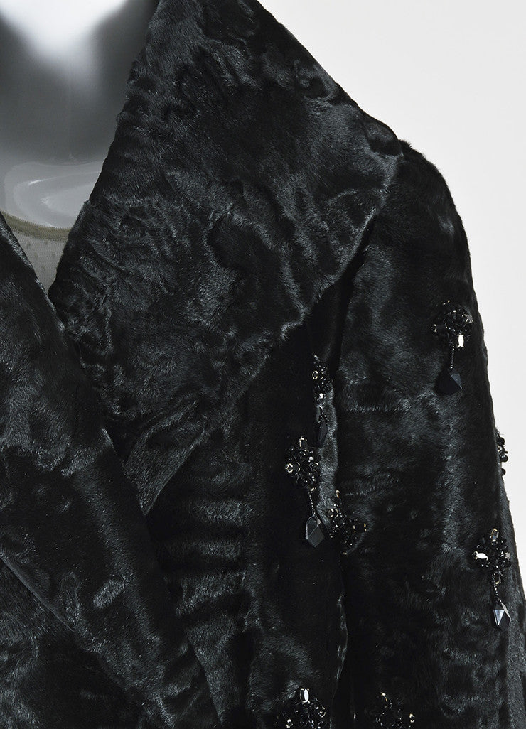 Prada Black Lamb Fur Embellished Shawl Lapel Evening Jacket Detail
