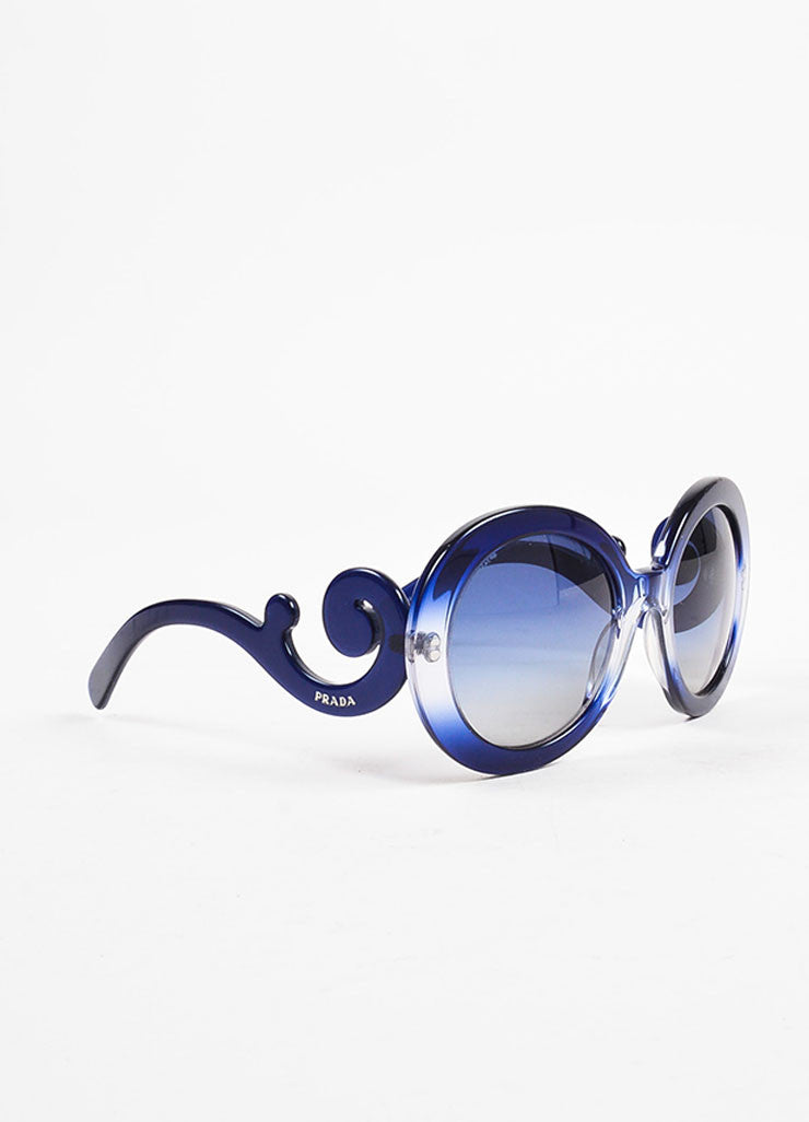 "Prada Blue Round Frame ""Baroque"" Sunglasses Sideview"