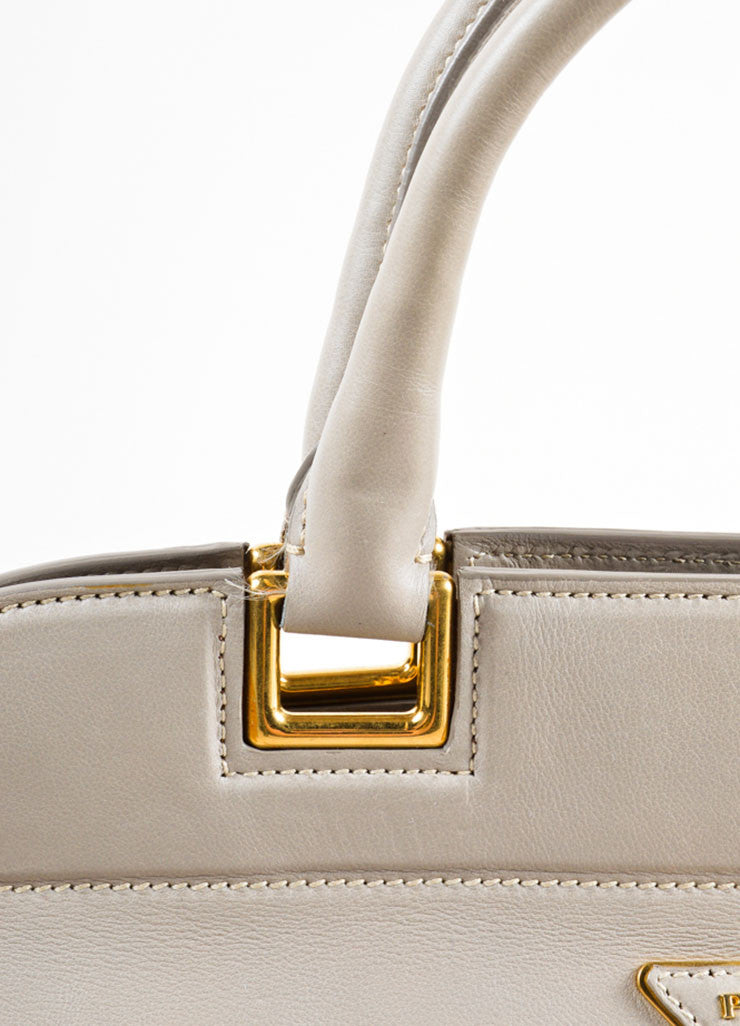 Prada Grey and Gold Toned Leather Top Handle Bag Detail 2