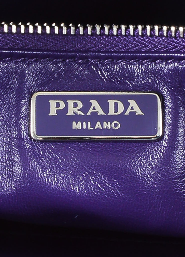 Prada Purple, Pink, and Green Saffiano Leather Floral Print Hand Strap Clutch Bag Brand