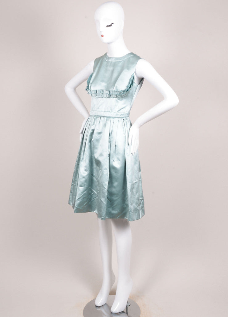 Prada Green Silk Satin Ruffle Trim Sleeveless Dress Sideview