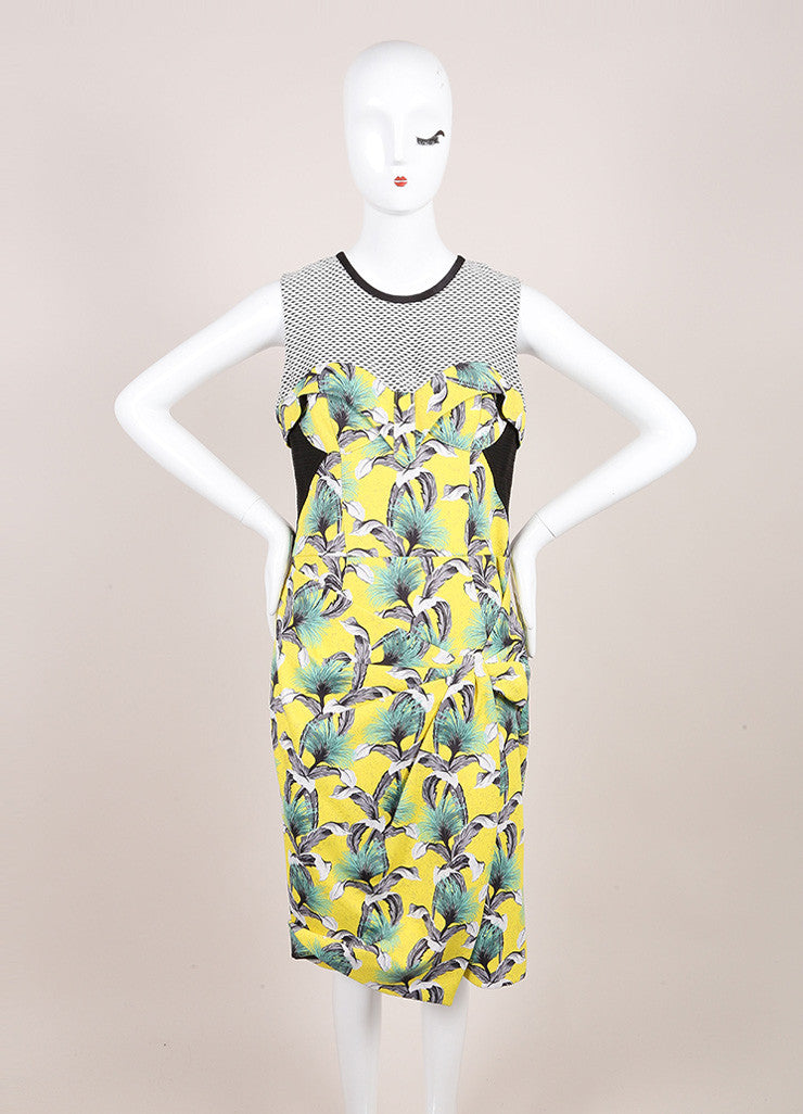 Proenza Schouler Yellow, Black, and Multicolor Tropical Print Sleeveless Neoprene Wrap Dress Frontview