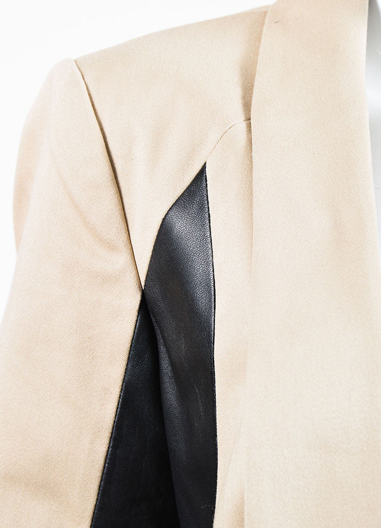 "Tan and Black Rag & Bone ""Jefferson"" Cotton and Leather Contrast Blazer Detail"
