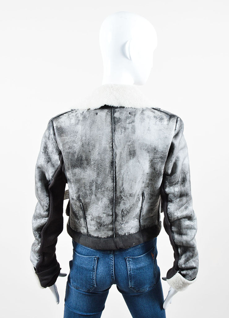 Grey Rick Owens Distressed Leather Knit Cropped Biker Jacket Backview