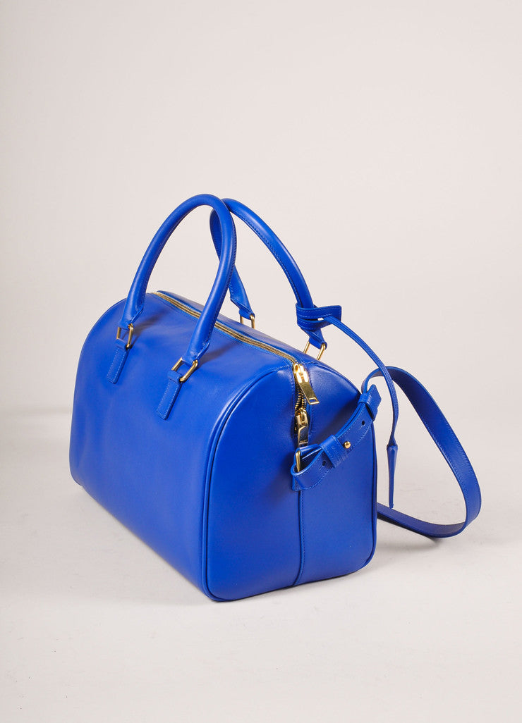 "Saint Laurent New With Tags Royal Blue Leather ""Classic Duffle 6"" Bag Sideview"