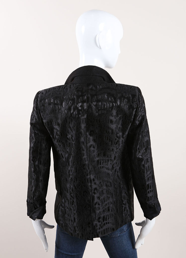 Saint Laurent Black Wool Leopard Jacquard Blazer Backview