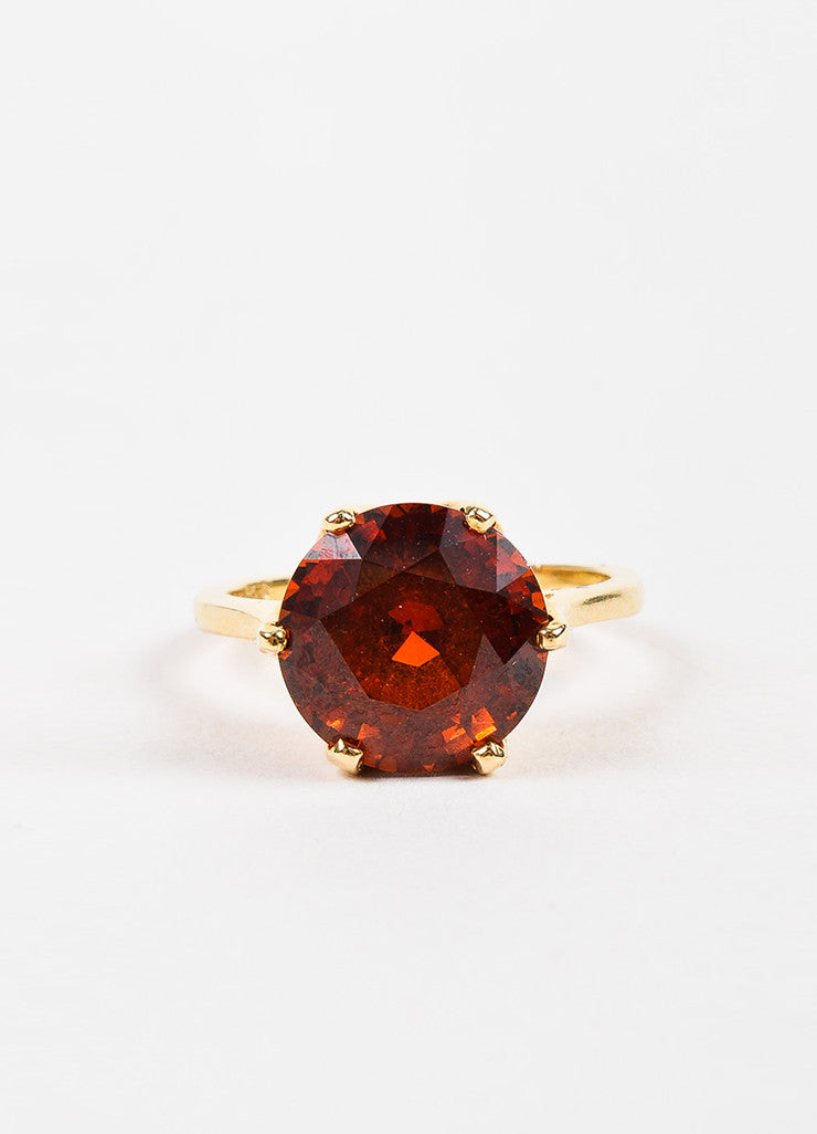 Sydel & Sydel Jewelry 14K Yellow Gold and Round Garnet Stone Solitaire Ring Frontview