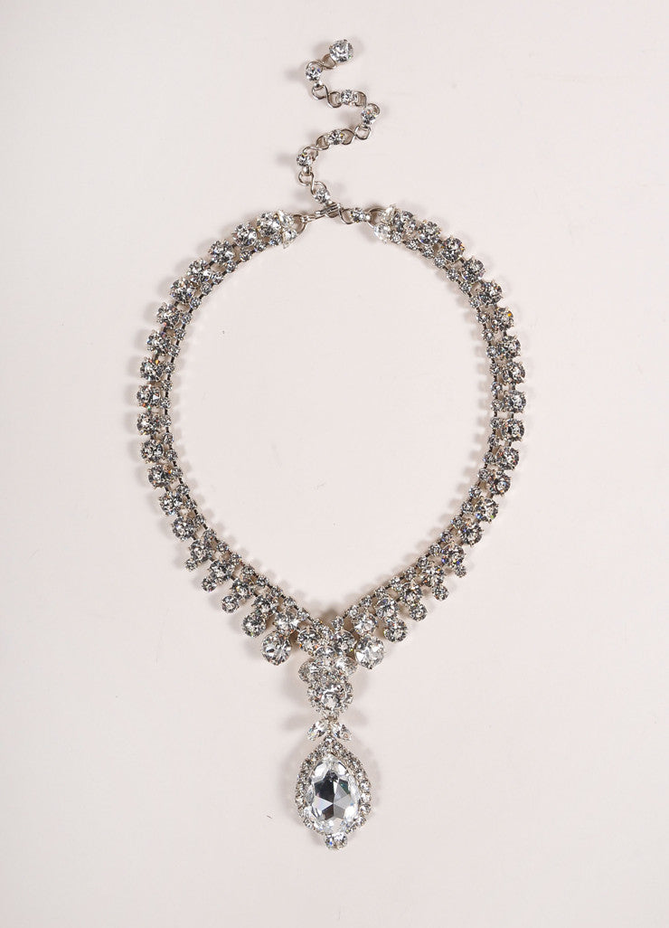 Thorin & Co. Silver Toned and Rhinestone Embellished Pear Drop Pendant Necklace Frontview