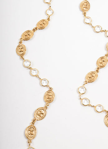 "Chanel Gold Toned ""CC"" Medallion Sautoir Necklace Detail"