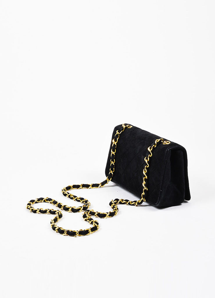 Chanel Black Suede Cross Body 'CC' Twist Lock Quilted Mini Flap Bag Sideview
