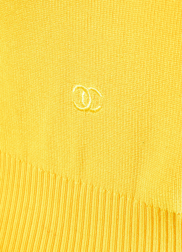 Chanel Canary Yellow Ribbed Knit Scoop Neck Sweater Vest Detail